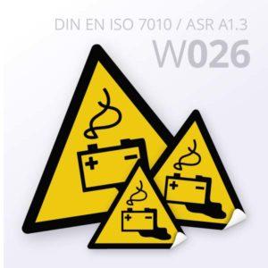 Warnzeichen-Warnung vor Gefahren durch das Aufladen von Batterien