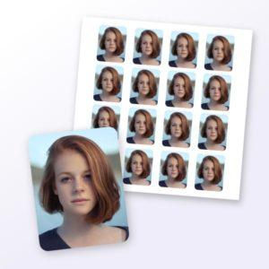 Aufkleber mit Foto im Passbildformat