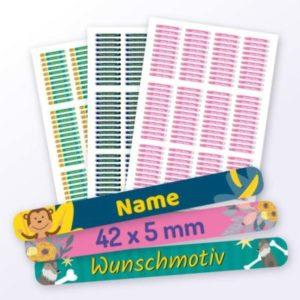 Kleine Namensaufkleber für Kinder mit Motiv
