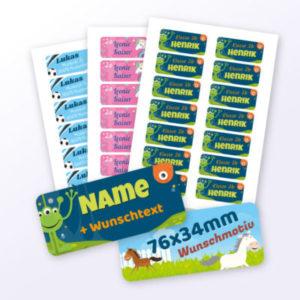 Namensaufkleber für Kinder mit Motiv