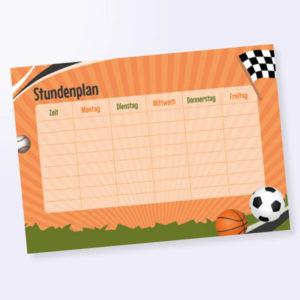 Stundenplan mit Sport-Motiv