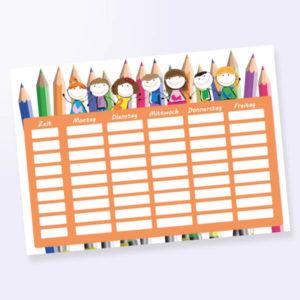 Stundenplan mit Stifte