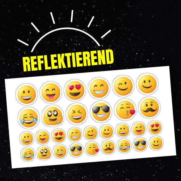 Reflektierende Aufkleber-Set Emojis
