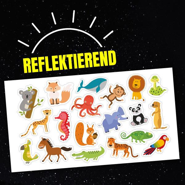 Reflektierende Aufkleber-Set Tiere