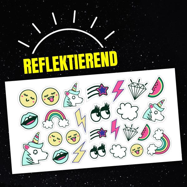 Reflektierende Aufkleber-Set Trendy mit Einhoernern und Regenbogen