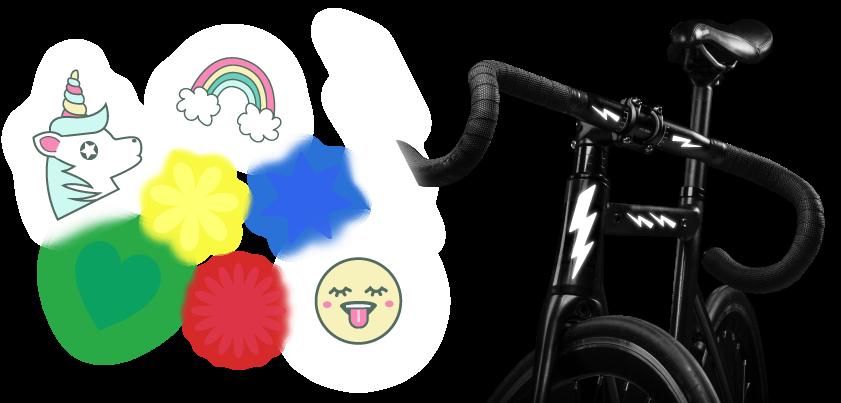 Reflektierende Aufkleber fürs Fahrrad mit verschiedenen Motiven