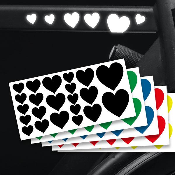 Reflektierende Aufkleber Herzen Set Sticker mehrere Farben