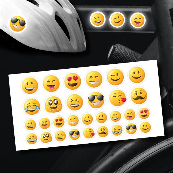 reflektoraufkleber aufkleber für's Fahrrad Helm Motorrad Set Emoji sticker