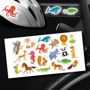 reflektoraufkleber aufkleber für's Fahrrad Helm Motorrad Set Tiere
