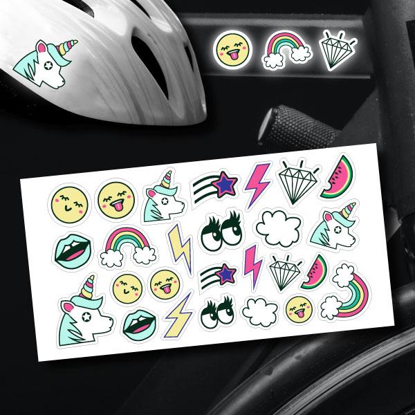 reflektoraufkleber aufkleber für's Fahrrad Helm Motorrad Set trendy sticker
