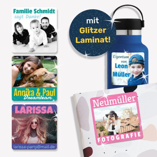 Große Fotoaufkleber mit Wunschtext - mit Glitzer Laminat