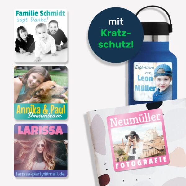 Große Fotoaufkleber mit Wunschtext - mit Kratzschutz