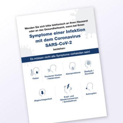 Plakat-Corona Symptome mit Piktogrammen