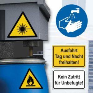 Warn- / Gebots- und Hinweisaufkleber
