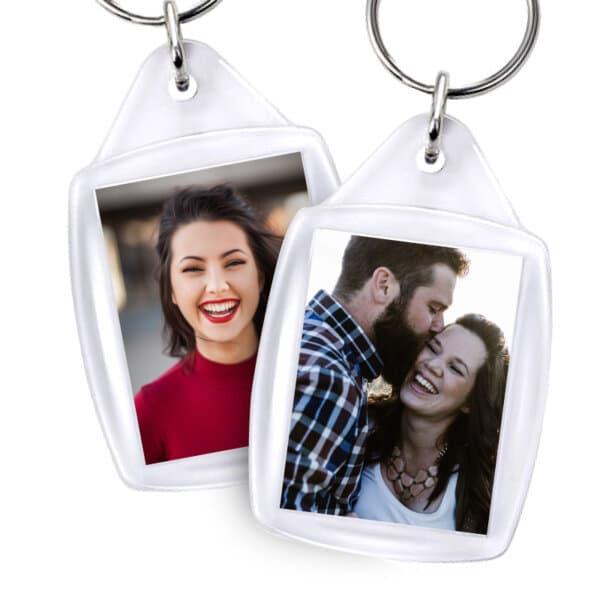 Schlüsselanhänger mit Foto Musterbild Rechteckig Mann & Frau