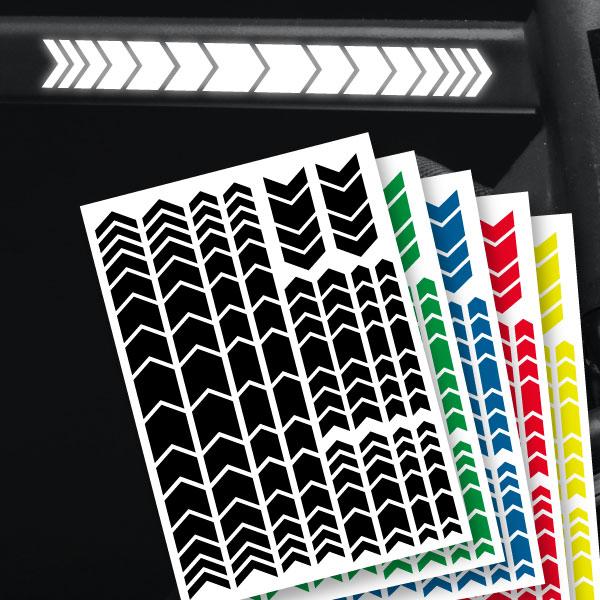 reflektierende aufkleber für fahrrad chevron stil stvzo konform in schwarz. rot, blau