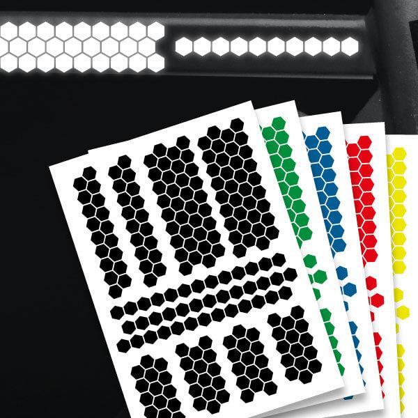Reflektierende Aufkleber Hexagon Waben Set Sticker mehrere Farben