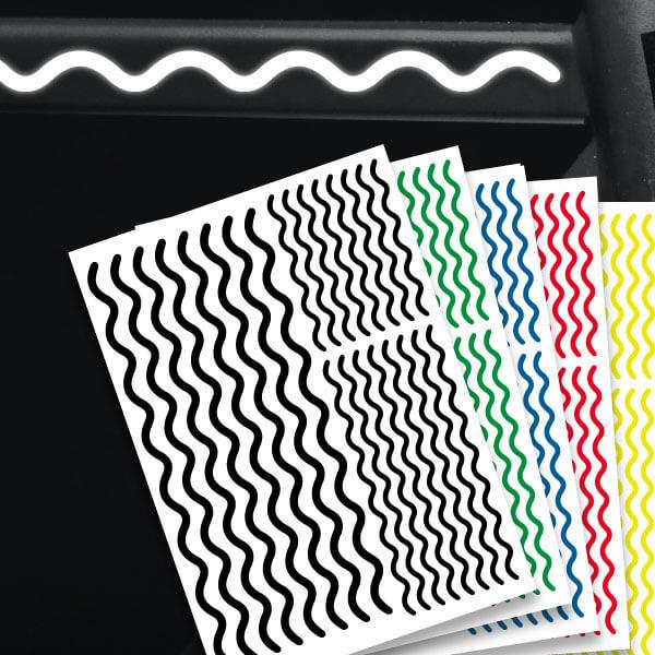 Reflektierende Aufkleber Wellen Set Sticker mehrere Farben