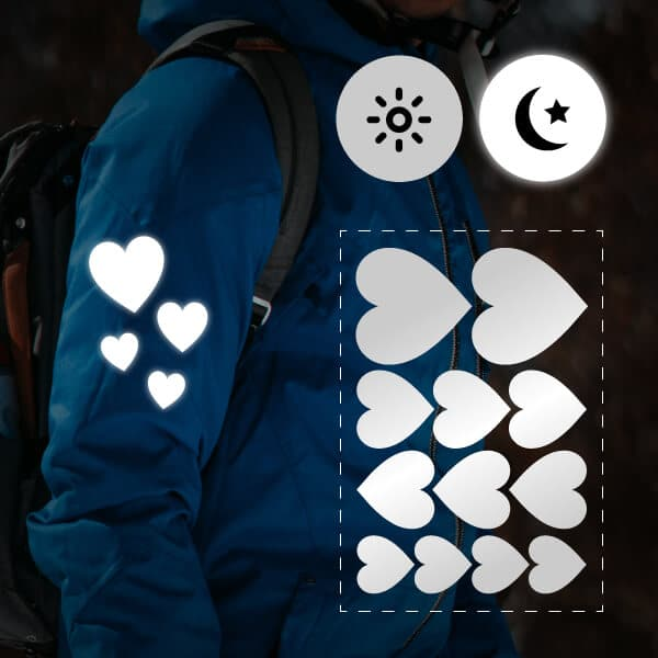 reflektoraufkleber für kleidung in herzform