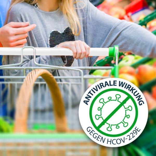 Antimikrobielle Schutzfolie gegen Viren und Bakterien, wie Coronaviren, Pure Zone Markenhersteller, Zertifiziert, Einkaufswagen