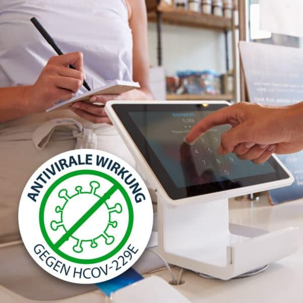 Antimikrobielle Schutzfolie gegen Viren und Bakterien, wie Coronaviren, Pure Zone Markenhersteller, Zertifiziert, Kasse, Touchpad