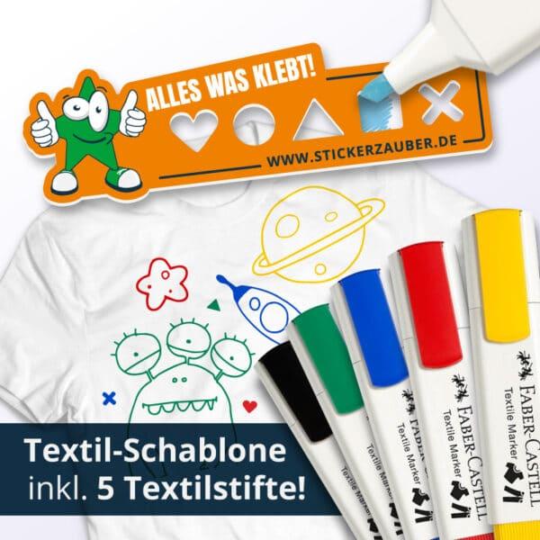 Textil-Schablone inklusive 5 Textil Stifte