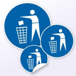 Gebotsaufkleber Abfallbehälter benutzen
