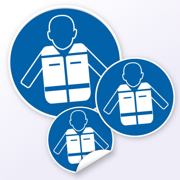 Gebotszeichen Rettungsweste benutzen